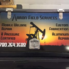 Aaron Field Services tool box door - closeup